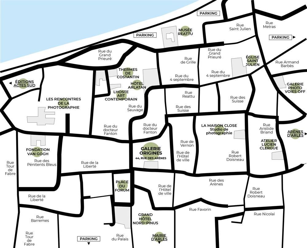 Plan d'accès à la Galerie Origines - Arles