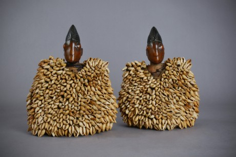 203_Yoruba, Pair of royal Ibedji with cowrie shells