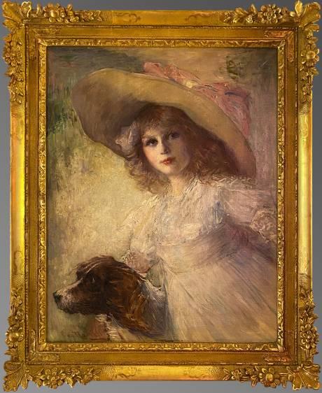 Artiste inconnu, Jeune fille à la capeline et son chien.