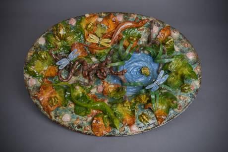 Christine Viennet, plat à foison aquatique - céramique en barbotine