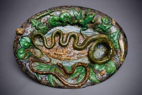 Goras - Renoleau, plat ovale au serpent et anguille en barbotine