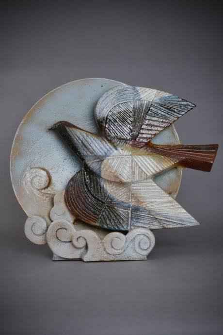 Jean Derval, grande sculpture à la colombe faisant lampe
