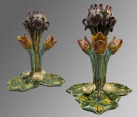 Faïencerie d'Onnaing, Paire de tulipières en céramique polychrome