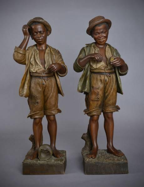 Galerie Origines - Arles - Goldscheider - Clerc - Jeunes noirs - terre cuite polychrome