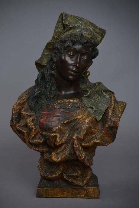 Galerie Origines - Arles - Goldscheider - Bust of young African woman - polychrome terracotta