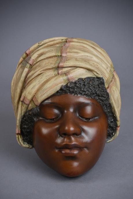 Galerie Origines - Arles - Goldscheider - T. Du Piémont  - Turbaned young African girl mask - Polychrome terracotta
